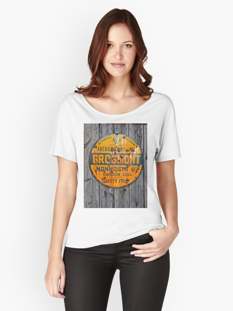 Grosmont - AA Abergavenny, old Enameled sign, Wales, Monmouthshire  Women's Relaxed Fit T-Shirt Front