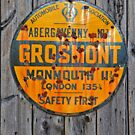 Grosmont - AA Abergavenny, old Enameled sign, Wales, Monmouthshire  by Remo Kurka