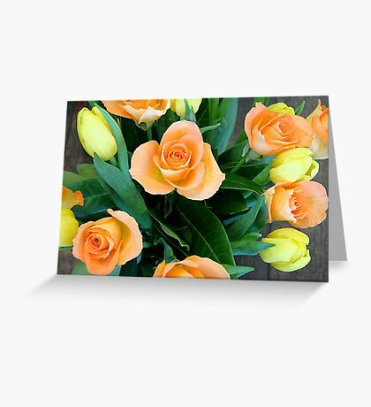 Bouquet of roses and tulips Greeting Card