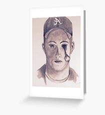 Eye on You Baseball Player Pencil Drawing Portrait Greeting Card
