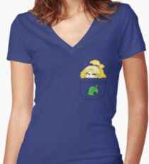 Pocket Isabelle + Leaf Women's Fitted V-Neck T-Shirt