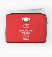Keep calm and remove the arrow from your knee Laptop Sleeve
