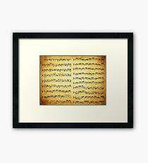Music sheet on vintage paper Framed Print