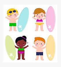 Summer multicultural surfing kids Photographic Print