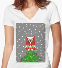 Tree Top Owl Women's Fitted V-Neck T-Shirt