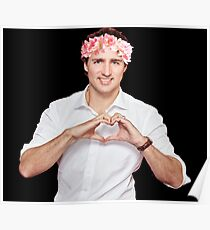 Justin Trudeau Flower Crown Poster