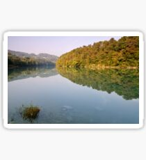 Autumn morning along the Rhone river Sticker