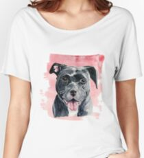 Black American Bulldog Watercolor Painting Women's Relaxed Fit T-Shirt