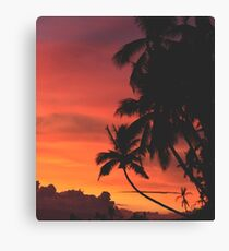 Coconut Trees Silhouette at Dusk Canvas Print