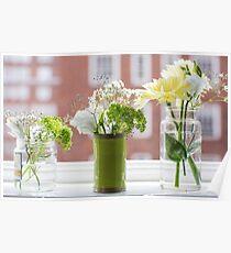 Three flower vases Poster