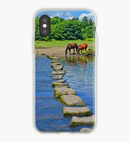 2 Horses at Famous Ogmore Stepping Stones (Wales) iPhone Case