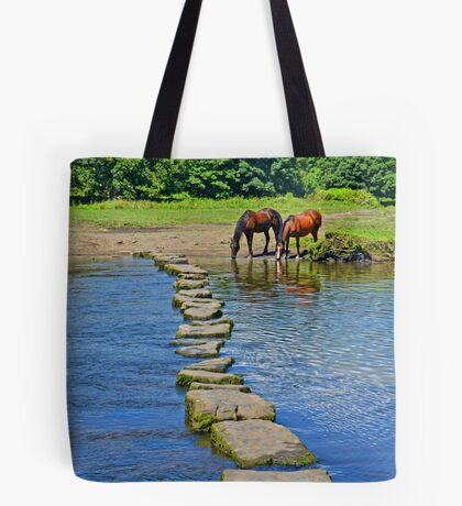 2 Horses at Famous Ogmore Stepping Stones (Wales) Tote Bag