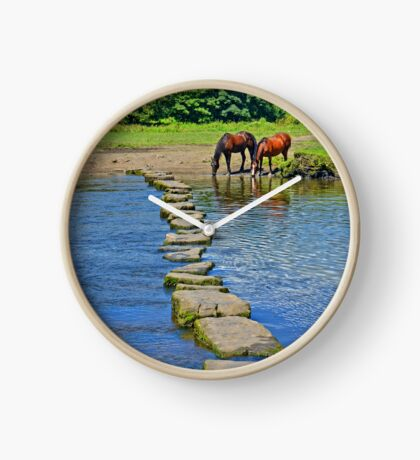 2 Horses at Famous Ogmore Stepping Stones (Wales) Clock