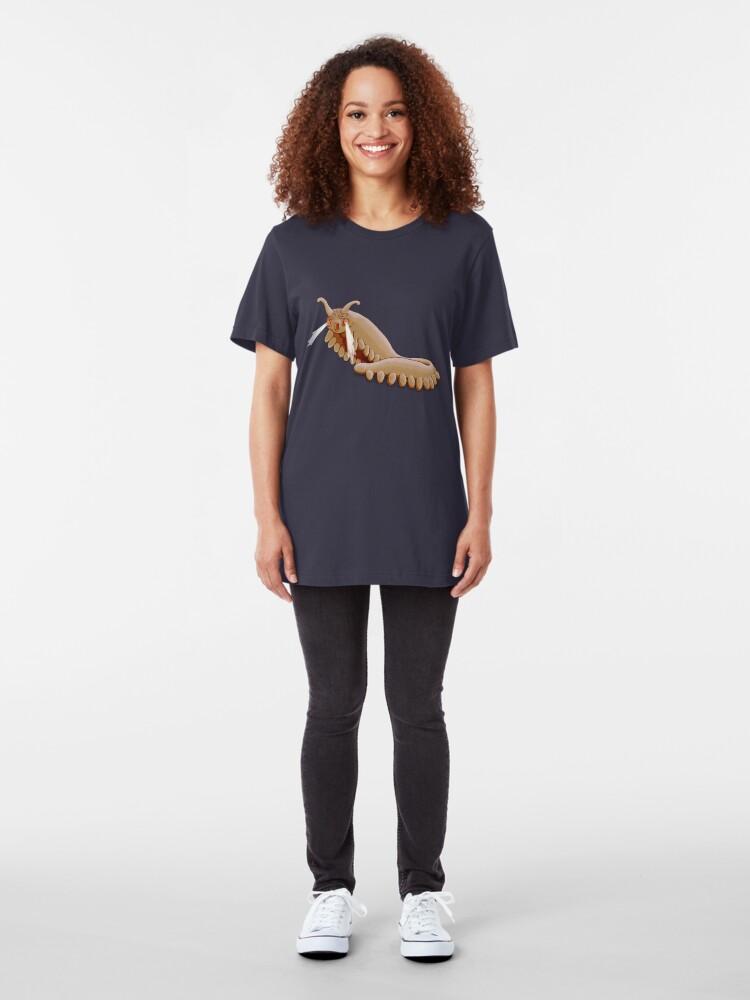 Alternate view of Brown Onychophora velvet worm Slim Fit T-Shirt
