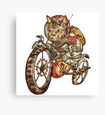 Berserk Steampunk Motorcycle Cat Canvas Print