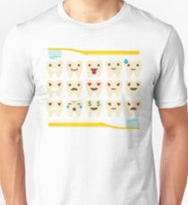 Teeth Emoji 15 Different Facial Expressions Unisex T-Shirt
