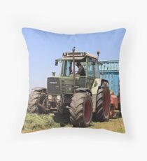 Tractor at work on El Camino, Spain Throw Pillow