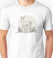 A doe and her fawn (also available in blue) T-Shirt