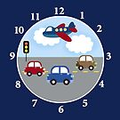 Transportation Airplane and Car Boys Room Wall Clock  by JessDesigns