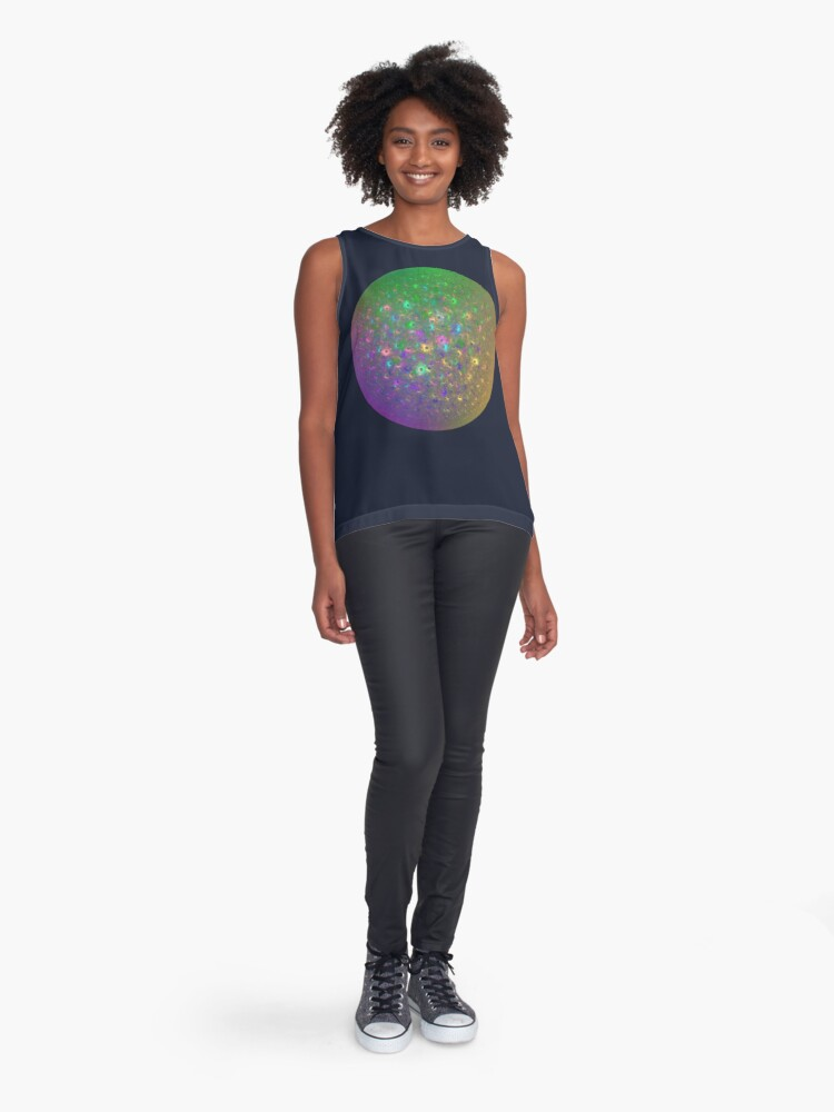 Alternate view of Planet Two #Fractal Art Sleeveless Top