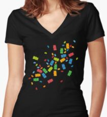 Jelly Beans & Gummy Bears Explosion Women's Fitted V-Neck T-Shirt