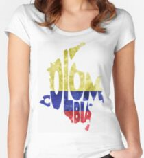 Colombia Typographic Map Flag Women's Fitted Scoop T-Shirt