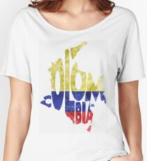 Colombia Typographic Map Flag Women's Relaxed Fit T-Shirt