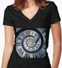 Through time and space... Women's Fitted V-Neck T-Shirt