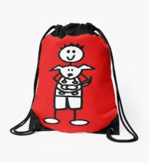 The boy with the spiky hair - red Drawstring Bag