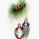 Red and Blue Christmas Baubles by Rasendyll