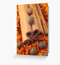 Macro view of the cinnamone, peppercorn and saffron Greeting Card
