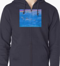 The Cat On The Dinosaur Zipped Hoodie