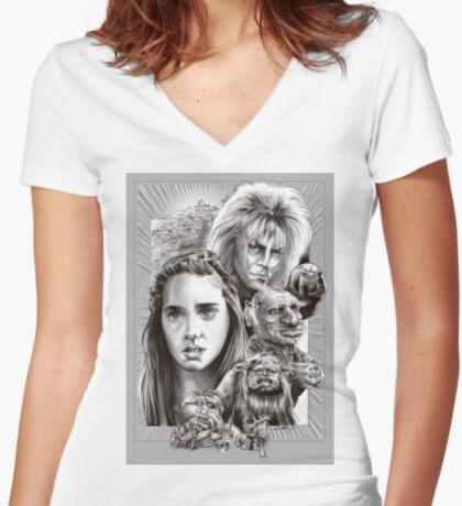Labyrinth Fan Art Women's Fitted V-Neck T-Shirt