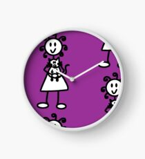 The girl with the curly hair - dark purple Clock