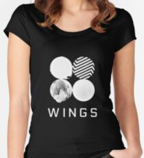 BTS Wings Logo (Black) Women's Fitted Scoop T-Shirt