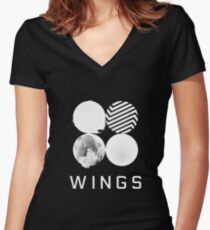 BTS Wings Logo (Black) Women's Fitted V-Neck T-Shirt