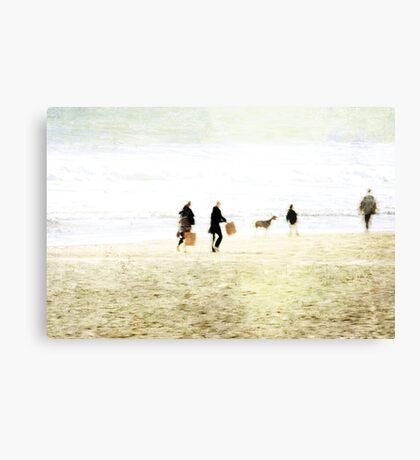 Family On The Beach Canvas Print