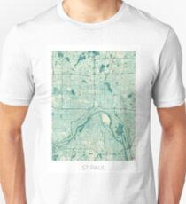 St Paul Map Blue Vintage Unisex T-Shirt