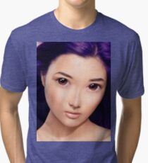 Young asian woman anime style beauty portrait with purple hair art photo print Tri-blend T-Shirt
