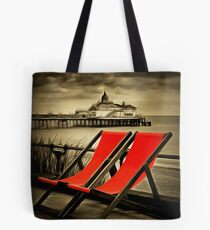 Eastbourne pier & deckchairs Tote Bag