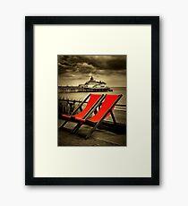 Eastbourne pier & deckchairs Framed Print