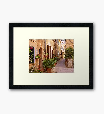 The Brown Shuttered Houses Of Valldemossa Framed Print