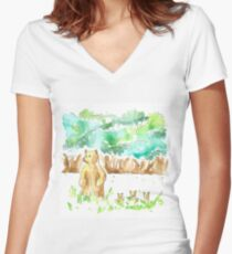bear family Women's Fitted V-Neck T-Shirt