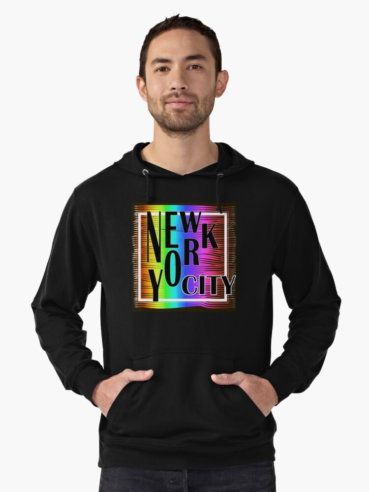 New York typography Lightweight Hoodie Front