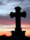 Graveyard Cross at sunset, Templar's Church,Templetown, Wexford, Ireland  by David Carton