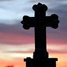 Graveyard Cross at sunset, Templar's Church,Templetown, Wexford, Ireland  by David Carton