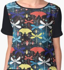 Graphic pattern different insects Chiffon Top