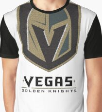 A Golden Vegas Sports Shirt Knight Emblem Distressed Look Tshirt Graphic T-Shirt