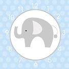 Mod Elephant Blue and White Wall Clock by JessDesigns