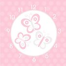 Pink and Gray Butterfly Clock by JessDesigns